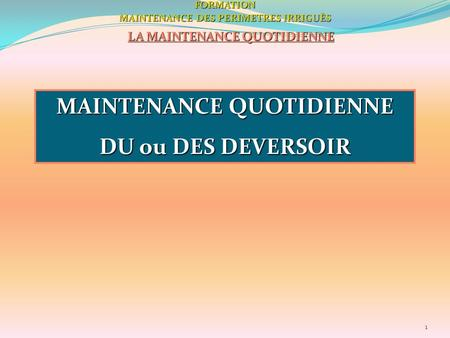 1FORMATION MAINTENANCE DES PERIMETRES IRRIGUÈS LA MAINTENANCE QUOTIDIENNE MAINTENANCE QUOTIDIENNE DU ou DES DEVERSOIR.