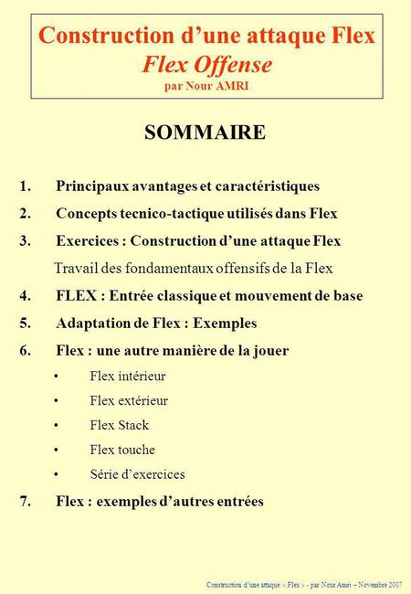 Construction d'une attaque Flex Flex Offense par Nour AMRI