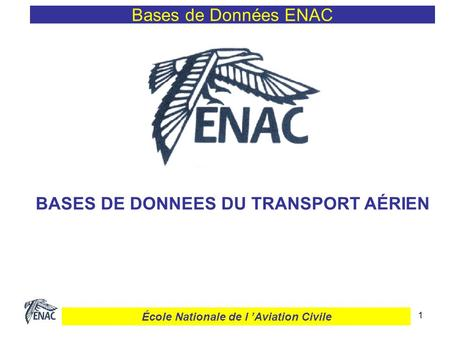 1 Bases de Données ENAC BASES DE DONNEES DU TRANSPORT AÉRIEN École Nationale de l Aviation Civile.