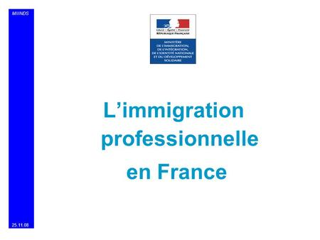 MIIINDS Limmigration professionnelle en France 25.11.08.
