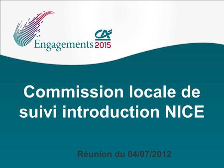 Commission locale de suivi introduction NICE Réunion du 04/07/2012.