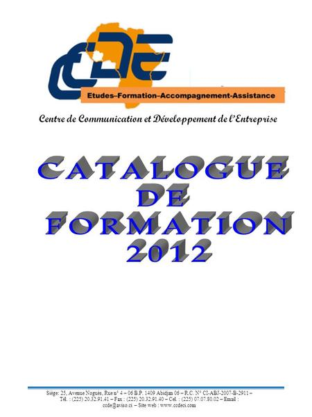 CATALOGUE DE FORMATION 2012