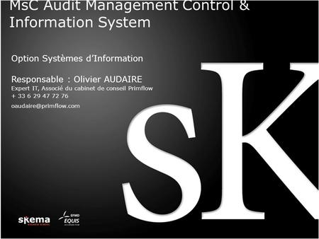 MsC Audit Management Control & Information System Option Systèmes dInformation Responsable : Olivier AUDAIRE Expert IT, Associé du cabinet de conseil Primflow.
