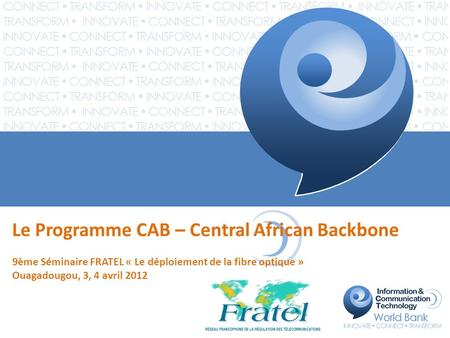Le Programme CAB – Central African Backbone