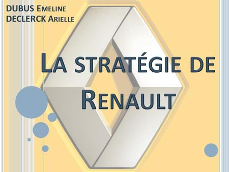 IntroIntro PRESENTATION DU GROUPE, EVOLUTION STRATEGIQUE PRESENTATION DU GROUPE, EVOLUTION STRATEGIQUE Renault, responsable de son échec? I I LES PROBLEMES.