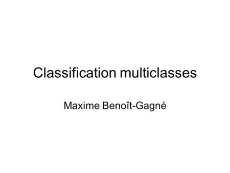 Classification multiclasses