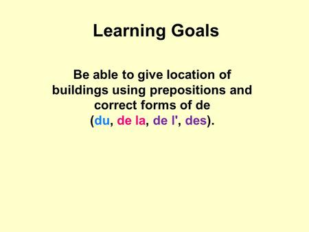 Learning Goals Be able to give location of buildings using prepositions and correct forms of de (du, de la, de l', des).