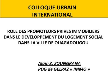 COLLOQUE URBAIN INTERNATIONAL