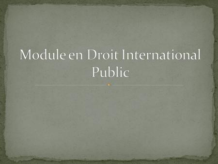 Module en Droit International Public
