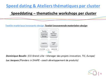 1 Speed dating & Ateliers thématiques par cluster Speeddating – thematische workshops per cluster Textile-matériaux innovants-design Textiel-innoverende.
