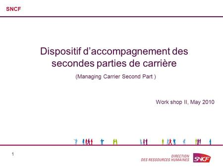 1 Dispositif daccompagnement des secondes parties de carrière (Managing Carrier Second Part ) SNCF Work shop II, May 2010.