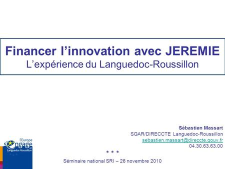 Séminaire national SRI – 26 novembre 2010
