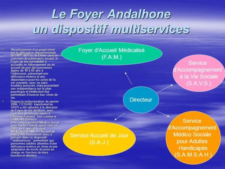 Le Foyer Andalhone un dispositif multiservices