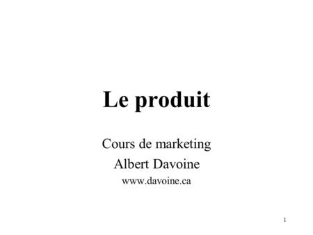 Cours de marketing Albert Davoine