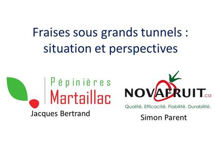 Fraises sous grands tunnels : situation et perspectives Jacques Bertrand Simon Parent.