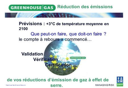 Greenhouse Gas Emissions Reduction MANAGING RISK Réduction des émissions de vos réductions démission de gaz à effet de serre. Validation Vérification Certification.