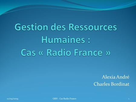 Gestion des Ressources Humaines : Cas « Radio France »