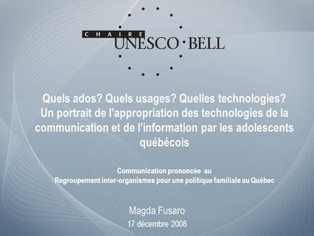 Quels ados? Quels usages? Quelles technologies? Un portrait de lappropriation des technologies de la communication et de linformation par les adolescents.