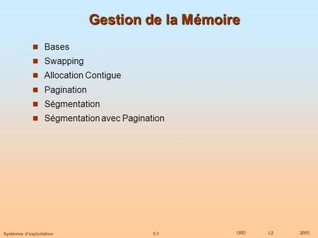 Gestion de la Mémoire Bases Swapping Allocation Contigue Pagination