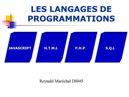 LES LANGAGES DE PROGRAMMATIONS JAVASCRIPTH.T.M.LP.H.PS.Q.L Reynald Maréchal DI045.