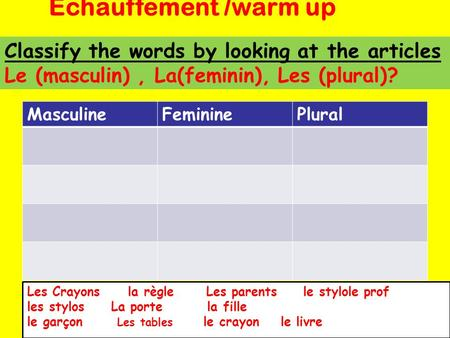 Echauffement /warm up Classify the words by looking at the articles Le (masculin) , La(feminin), Les (plural)? Masculine Feminine Plural Les Crayons.