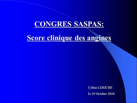 Score clinique des angines