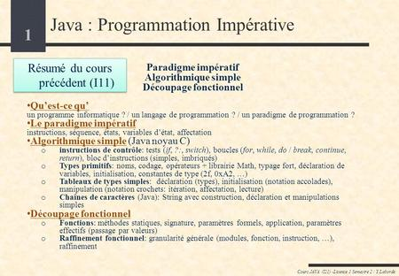 Java : Programmation Impérative