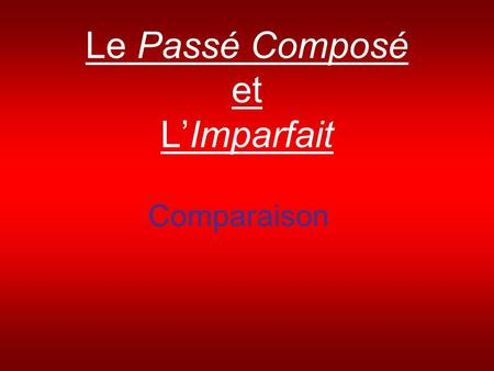 Le Passé Composé et LImparfait Comparaison. Limparfait You already know the imparfait is used to: Say what was happening (not what happened) Say how things.
