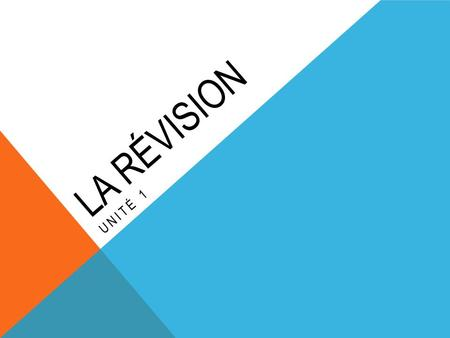 LA RÉVISION UNITÉ 1. -ER Je- e Tu- es Il/Elle/On/Qui- e Nous- ons Vous- ez Ils/Elles- ent LE PRÉSENT The following are the endings for regular verbs in.