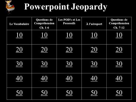 Powerpoint Jeopardy Le Vocabulaire Questions de Compréhension Ch. 1-6 Les PODs et Les Possessifs À laéroport Questions de Compréhension Ch. 7-12 10 20.