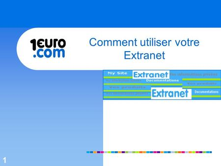 1 Comment utiliser votre Extranet 1. 2 1.Se connecter 2.My Site 3.Documentation 3.1 Documents dintégration 3.2 Documents types 4.Vos informations privées.