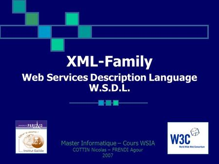 XML-Family Web Services Description Language W.S.D.L. Master Informatique – Cours WSIA COTTIN Nicolas – FRENDI Agour 2007.