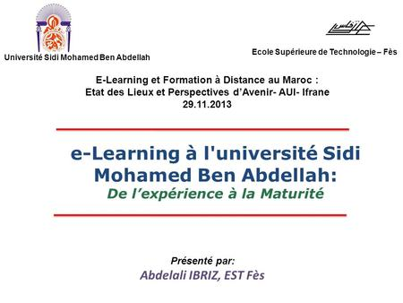 e-Learning à l'université Sidi Mohamed Ben Abdellah: