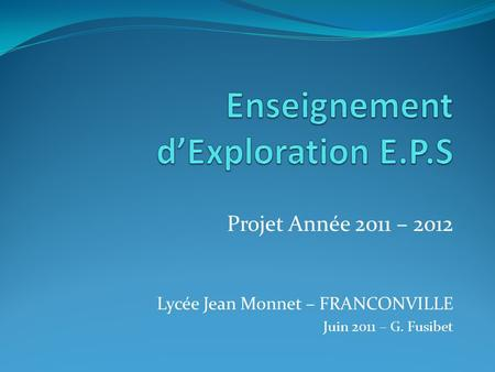Enseignement d'Exploration E.P.S