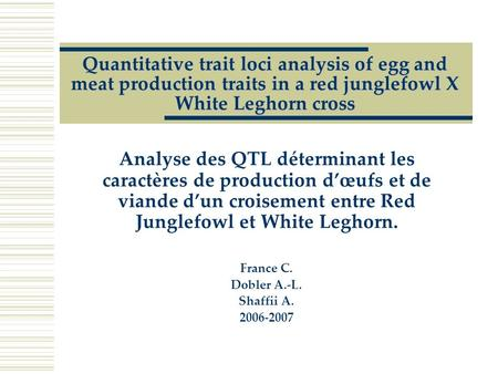 Quantitative trait loci analysis of egg and meat production traits in a red junglefowl X White Leghorn cross Analyse des QTL déterminant les caractères.