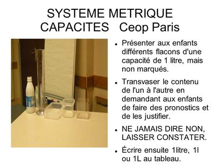 SYSTEME METRIQUE CAPACITES Ceop Paris
