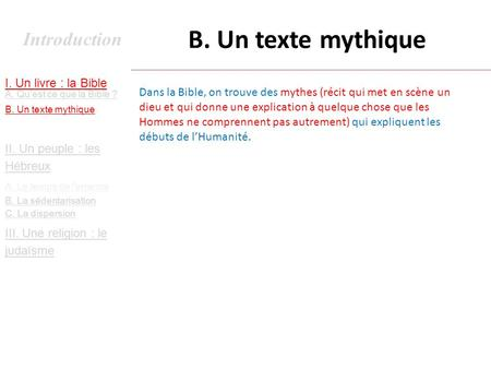 B. Un texte mythique Introduction I. Un livre : la Bible