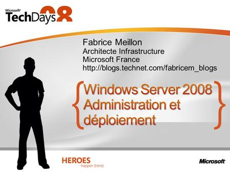 Fabrice Meillon Architecte Infrastructure Microsoft France