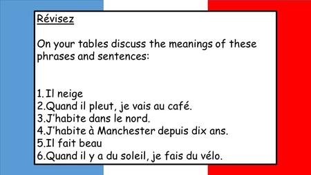 Révisez On your tables discuss the meanings of these phrases and sentences: 1.Il neige 2.Quand il pleut, je vais au café. 3.Jhabite dans le nord. 4.Jhabite.