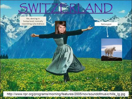 My Trip to Switzerland Me, dancing in Switzerland, ironically resembling Julie Andrews Native goat