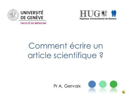 Comment écrire un article scientifique ?