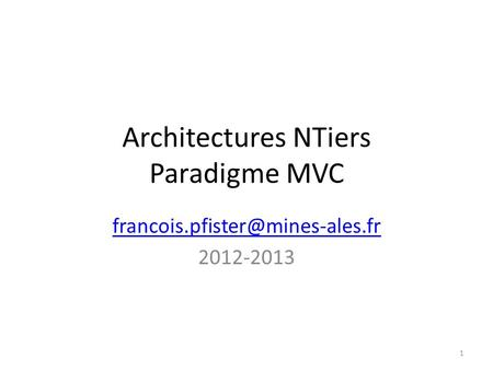 Architectures NTiers Paradigme MVC
