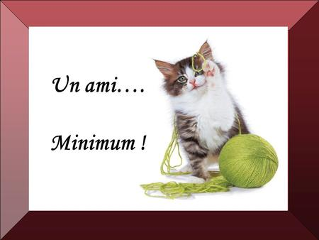 Un ami…. Minimum !.