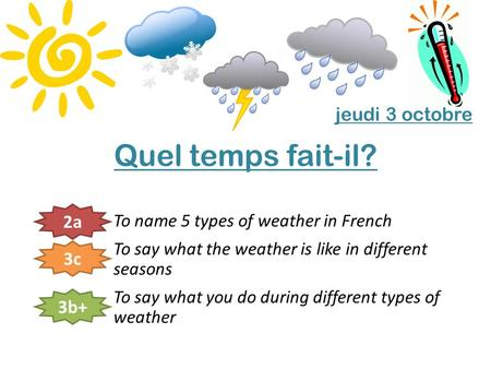 Quel temps fait-il? To name 5 types of weather in French To say what the weather is like in different seasons To say what you do during different types.