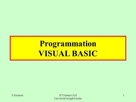 Programmation VISUAL BASIC
