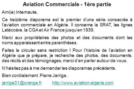 Aviation Commerciale - 1ère partie