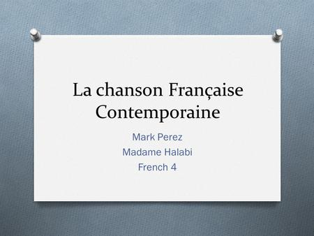 La chanson Française Contemporaine Mark Perez Madame Halabi French 4.