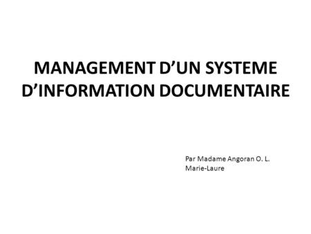 MANAGEMENT D'UN SYSTEME D'INFORMATION DOCUMENTAIRE