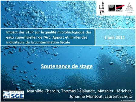 Soutenance de stage 1 juin 2011