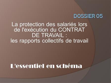 DOSSIER 07 LA PROTECTION DU SALARIE LORS DE LA RUPTURE DU CONTRAT